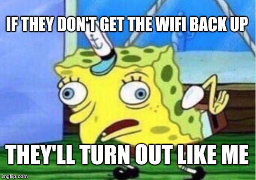 Mocking Spongebob Meme | IF THEY DON'T GET THE WIFI BACK UP THEY'LL TURN OUT LIKE ME | image tagged in memes,mocking spongebob | made w/ Imgflip meme maker