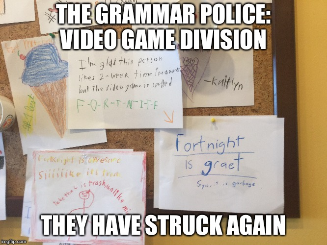 Whoever did this deserves a medal for being the Grammar Police in public. | THE GRAMMAR POLICE: VIDEO GAME DIVISION THEY HAVE STRUCK AGAIN | image tagged in grammar nazi,fortnite | made w/ Imgflip meme maker