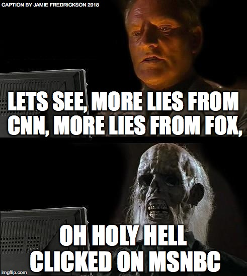 Ill Just Wait Here Meme | LETS SEE, MORE LIES FROM CNN, MORE LIES FROM FOX, OH HOLY HELL CLICKED ON MSNBC CAPTION BY JAMIE FREDRICKSON 2018 | image tagged in memes,ill just wait here | made w/ Imgflip meme maker