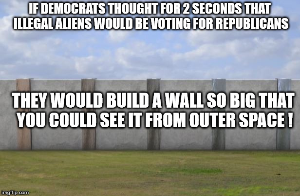 Democrats care about 1 thing after being elected. How to stay there.  |  IF DEMOCRATS THOUGHT FOR 2 SECONDS THAT ILLEGAL ALIENS WOULD BE VOTING FOR REPUBLICANS; THEY WOULD BUILD A WALL SO BIG THAT YOU COULD SEE IT FROM OUTER SPACE ! | image tagged in border wall,fake news,illegal immigration,democrats,republicans | made w/ Imgflip meme maker