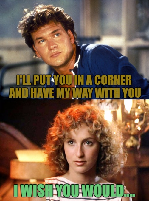 I'LL PUT YOU IN A CORNER AND HAVE MY WAY WITH YOU I WISH YOU WOULD.... | made w/ Imgflip meme maker