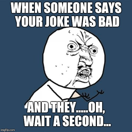 Y U No Meme | WHEN SOMEONE SAYS YOUR JOKE WAS BAD AND THEY.....OH, WAIT A SECOND... | image tagged in memes,y u no | made w/ Imgflip meme maker
