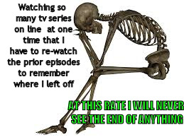 Watching so many tv series on line  at one time that I have to re-watch the prior episodes to remember where I left off AT THIS RATE I WILL  | image tagged in tv series,tv series on-line,skeleton sitting,skeleton distressed,rewatch tv episode | made w/ Imgflip meme maker