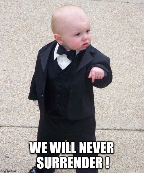 Baby Winston | WE WILL NEVER SURRENDER ! | image tagged in winston churchill | made w/ Imgflip meme maker