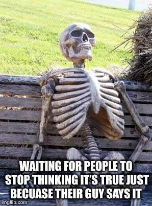 Waiting Skeleton Meme | WAITING FOR PEOPLE TO STOP THINKING IT'S TRUE JUST BECUASE THEIR GUY SAYS IT | image tagged in memes,waiting skeleton | made w/ Imgflip meme maker
