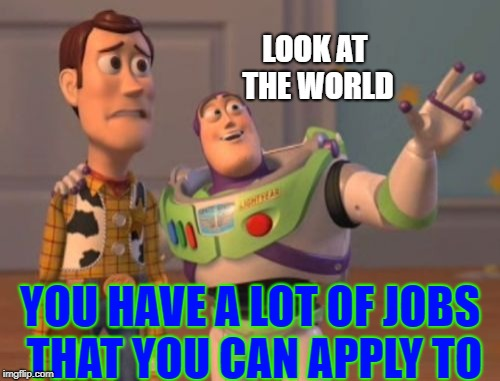 Woody's Job Problems | LOOK AT THE WORLD YOU HAVE A LOT OF JOBS THAT YOU CAN APPLY TO | image tagged in memes,x,x everywhere,x x everywhere,job,woody | made w/ Imgflip meme maker