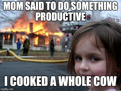 Disaster Girl Meme | MOM SAID TO DO SOMETHING PRODUCTIVE I COOKED A WHOLE COW | image tagged in memes,disaster girl | made w/ Imgflip meme maker