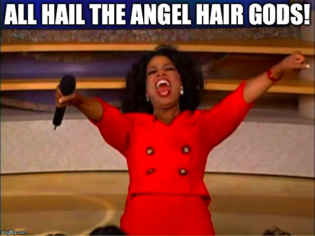 Oprah You Get A Meme | ALL HAIL THE ANGEL HAIR GODS! | image tagged in memes,oprah you get a | made w/ Imgflip meme maker