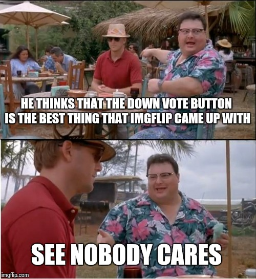 For who loves the upvote button / Hates the down vote button | HE THINKS THAT THE DOWN VOTE BUTTON IS THE BEST THING THAT IMGFLIP CAME UP WITH SEE NOBODY CARES | image tagged in memes,see nobody cares | made w/ Imgflip meme maker