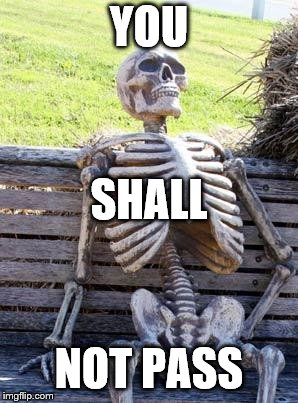 Waiting Skeleton Meme | YOU NOT PASS SHALL | image tagged in memes,waiting skeleton | made w/ Imgflip meme maker