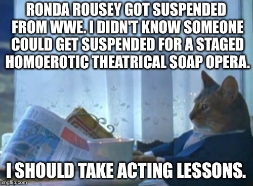 WWE is a staged homoerotic cat fight | RONDA ROUSEY GOT SUSPENDED FROM WWE. I DIDN'T KNOW SOMEONE COULD GET SUSPENDED FOR A STAGED HOMOEROTIC THEATRICAL SOAP OPERA. I SHOULD TAKE  | image tagged in memes,i should buy a boat cat,ronda rousey,wwe,fake,soap opera | made w/ Imgflip meme maker