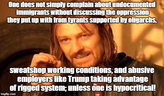One Does Not Simply Meme | One does not simply complain about undocumented immigrants without discussing the oppression they put up with from tyrants supported by olig | image tagged in memes,one does not simply | made w/ Imgflip meme maker