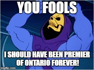 Wynne Defeated! | YOU FOOLS I SHOULD HAVE BEEN PREMIER OF ONTARIO FOREVER! | image tagged in skeletor,kathleen wynne,wynne,ontario,election | made w/ Imgflip meme maker