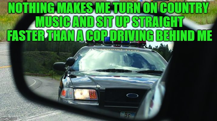 I don't know why; I can't explain it. | NOTHING MAKES ME TURN ON COUNTRY MUSIC AND SIT UP STRAIGHT FASTER THAN A COP DRIVING BEHIND ME | image tagged in memes,funny,cops,i love bacon,doughnuts | made w/ Imgflip meme maker