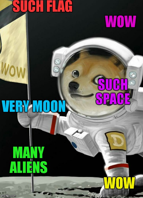 Wow  many  space ship | SUCH FLAG MANY ALIENS VERY MOON SUCH  SPACE WOW WOW | image tagged in doge space,doge,memes | made w/ Imgflip meme maker