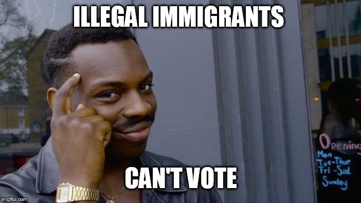 Roll Safe Think About It Meme | ILLEGAL IMMIGRANTS CAN'T VOTE | image tagged in memes,roll safe think about it | made w/ Imgflip meme maker