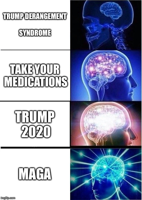 Expanding Brain Meme | TRUMP DERANGEMENT SYNDROME TAKE YOUR MEDICATIONS TRUMP 2020 MAGA | image tagged in memes,expanding brain | made w/ Imgflip meme maker