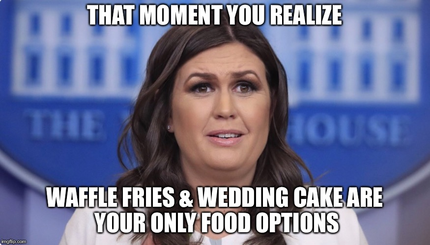 THAT MOMENT YOU REALIZE WAFFLE FRIES & WEDDING CAKE ARE YOUR ONLY FOOD OPTIONS | image tagged in sarah huckabee sanders | made w/ Imgflip meme maker