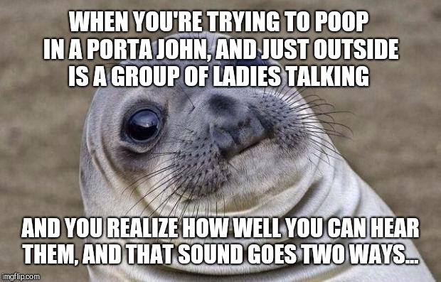 At least the blue poop water didn't splash on my hiney and stain my underwear this time lmao | WHEN YOU'RE TRYING TO POOP IN A PORTA JOHN, AND JUST OUTSIDE IS A GROUP OF LADIES TALKING AND YOU REALIZE HOW WELL YOU CAN HEAR THEM, AND TH | image tagged in memes,awkward moment sealion,jbmemegeek,awkward moment | made w/ Imgflip meme maker