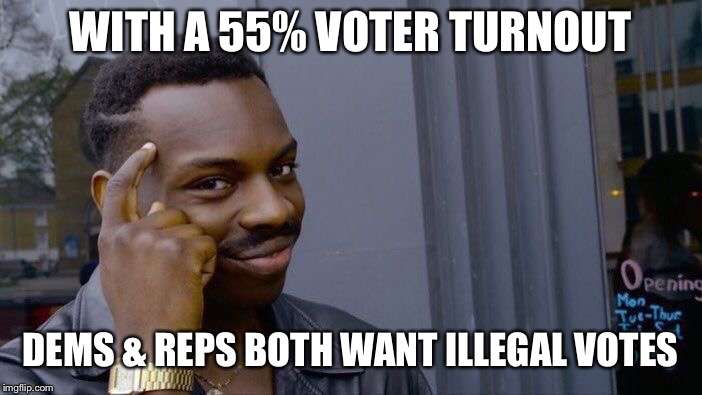 Roll Safe Think About It Meme | WITH A 55% VOTER TURNOUT DEMS & REPS BOTH WANT ILLEGAL VOTES | image tagged in memes,roll safe think about it | made w/ Imgflip meme maker