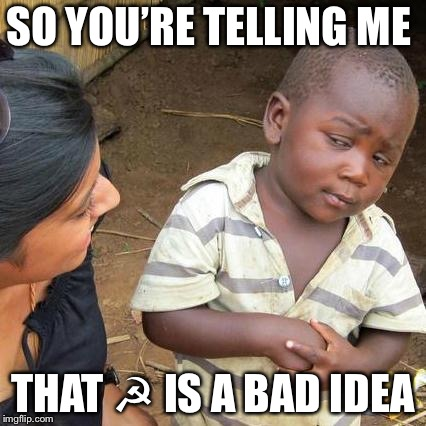 Say what you want  | SO YOU'RE TELLING ME THAT ☭ IS A BAD IDEA | image tagged in memes,third world skeptical kid,communism,political meme | made w/ Imgflip meme maker