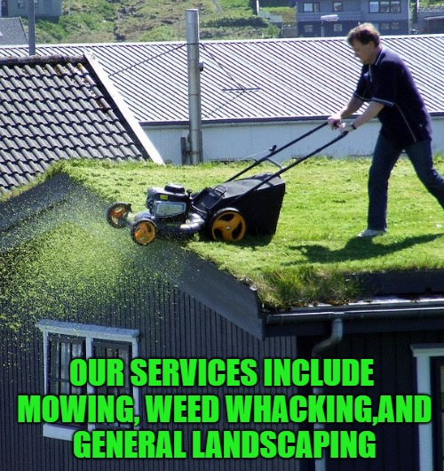 OUR SERVICES INCLUDE MOWING, WEED WHACKING,AND GENERAL LANDSCAPING | made w/ Imgflip meme maker