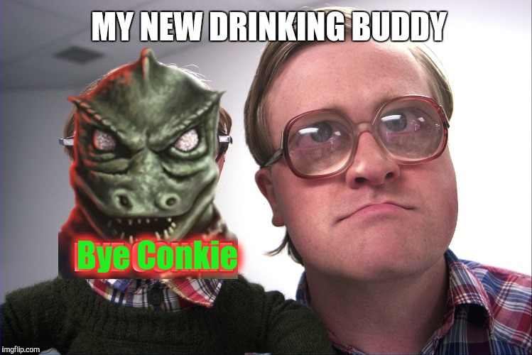 Bubbles Does Star Trek | Bye Conkie | image tagged in gorn,trailer park boys bubbles,bubbles,star trek,conkie | made w/ Imgflip meme maker