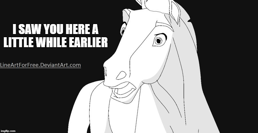 Shocked Horse | I SAW YOU HERE A LITTLE WHILE EARLIER | image tagged in shocked horse | made w/ Imgflip meme maker