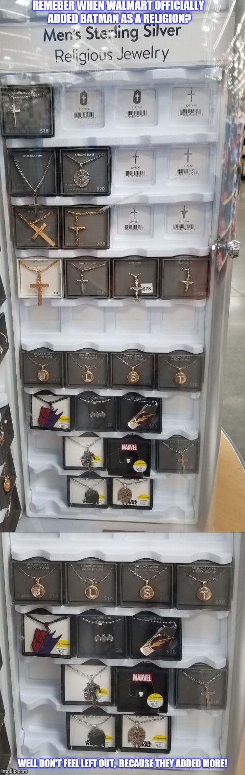 Hey Wal-Mart does care about other religions. | REMEBER WHEN WALMART OFFICIALLY ADDED BATMAN AS A RELIGION? WELL DON'T FEEL LEFT OUT,  BECAUSE THEY ADDED MORE! | image tagged in religion,superheroes,star wars,transformers,walmart,memes | made w/ Imgflip meme maker