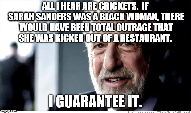 Double Standard | ALL I HEAR ARE CRICKETS.  IF SARAH SANDERS WAS A BLACK WOMAN, THERE WOULD HAVE BEEN TOTAL OUTRAGE THAT SHE WAS KICKED OUT OF A RESTAURANT. I | image tagged in memes,i guarantee it | made w/ Imgflip meme maker