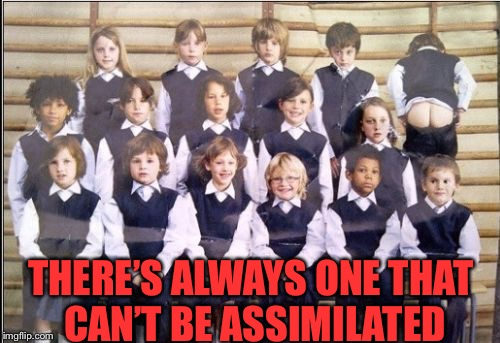 class photo | THERE'S ALWAYS ONE THAT CAN'T BE ASSIMILATED | image tagged in class photo | made w/ Imgflip meme maker