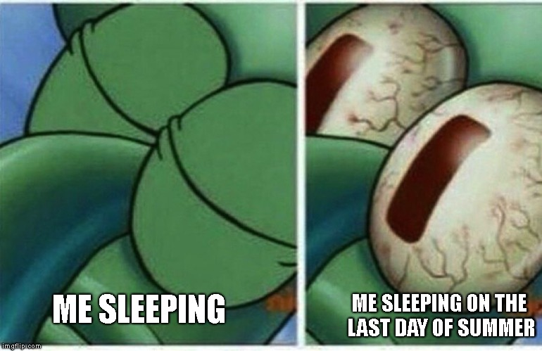 summer is too good to go away | ME SLEEPING ME SLEEPING ON THE LAST DAY OF SUMMER | image tagged in squidward,summer | made w/ Imgflip meme maker