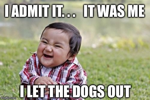 Who let the dogs out? | I ADMIT IT. . .   IT WAS ME I LET THE DOGS OUT | image tagged in memes,evil toddler,funny,music,song lyrics | made w/ Imgflip meme maker