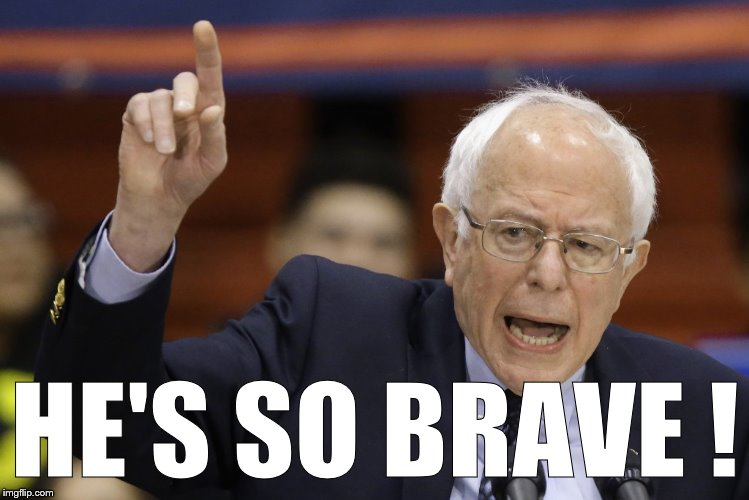Bern, feel the burn? | HE'S SO BRAVE ! | image tagged in bern,feel the burn | made w/ Imgflip meme maker