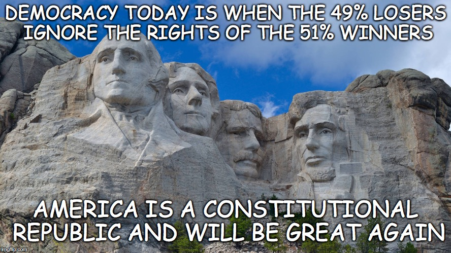 America is a Constitutional Republic | DEMOCRACY TODAY IS WHEN THE 49% LOSERS IGNORE THE RIGHTS OF THE 51% WINNERS AMERICA IS A CONSTITUTIONAL REPUBLIC AND WILL BE GREAT AGAIN | image tagged in america is a constitutional republic,make america great again | made w/ Imgflip meme maker