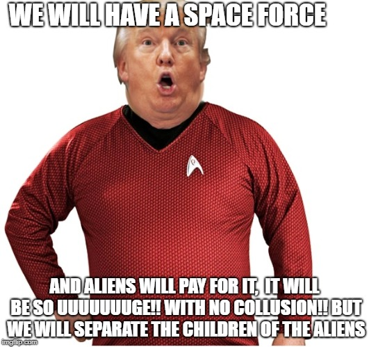 WE WILL HAVE A SPACE FORCE AND ALIENS WILL PAY FOR IT,  IT WILL BE SO UUUUUUUGE!! WITH NO COLLUSION!! BUT WE WILL SEPARATE THE CHILDREN OF T | image tagged in trump red-shirt space force | made w/ Imgflip meme maker