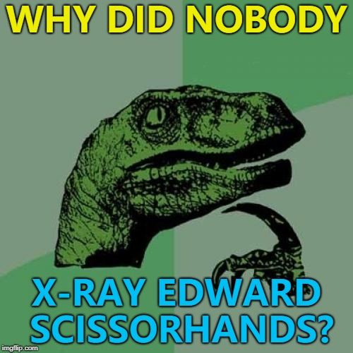 He was an artificial man after all... | WHY DID NOBODY X-RAY EDWARD SCISSORHANDS? | image tagged in memes,philosoraptor,edward scissorhands,x-ray,films | made w/ Imgflip meme maker