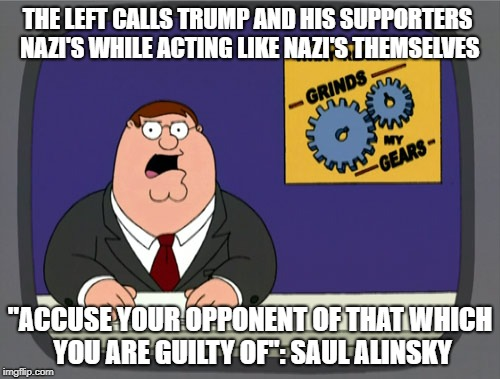 "Leftist tactics |  THE LEFT CALLS TRUMP AND HIS SUPPORTERS NAZI'S WHILE ACTING LIKE NAZI'S THEMSELVES; ""ACCUSE YOUR OPPONENT OF THAT WHICH YOU ARE GUILTY OF"": SAUL ALINSKY 