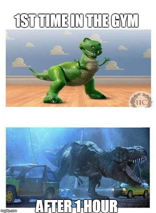 T-Rex | 1ST TIME IN THE GYM AFTER 1 HOUR | image tagged in t-rex,gym,gym memes | made w/ Imgflip meme maker