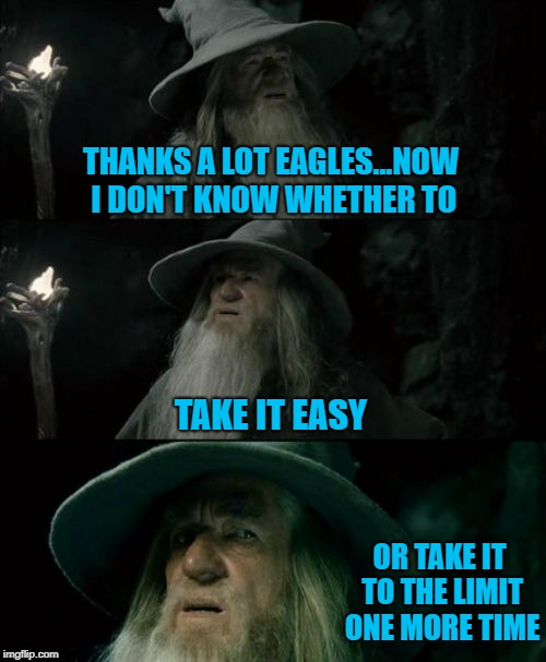 I should've went to see them in Omaha... :( | THANKS A LOT EAGLES...NOW I DON'T KNOW WHETHER TO TAKE IT EASY OR TAKE IT TO THE LIMIT ONE MORE TIME | image tagged in memes,confused gandalf,the eagles,funny,confused,gandalf | made w/ Imgflip meme maker
