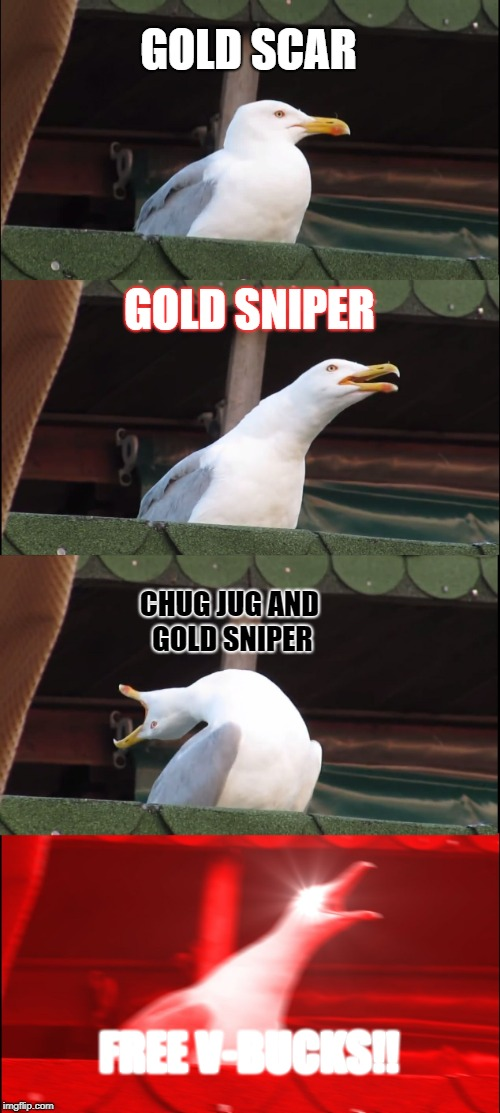 Inhaling Seagull | GOLD SCAR GOLD SNIPER CHUG JUG AND GOLD SNIPER FREE V-BUCKS!! | image tagged in memes,inhaling seagull | made w/ Imgflip meme maker