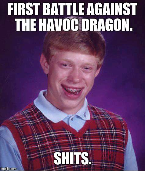 Bad Luck Brian Meme | FIRST BATTLE AGAINST THE HAVOC DRAGON. SHITS. | image tagged in memes,bad luck brian | made w/ Imgflip meme maker