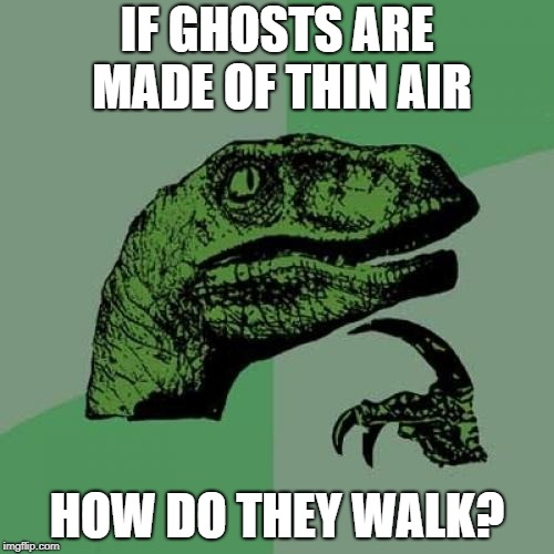 Zoinks! Like, it's a real mystery, Scoob! | IF GHOSTS ARE MADE OF THIN AIR HOW DO THEY WALK? | image tagged in memes,philosoraptor,funny,ghosts | made w/ Imgflip meme maker