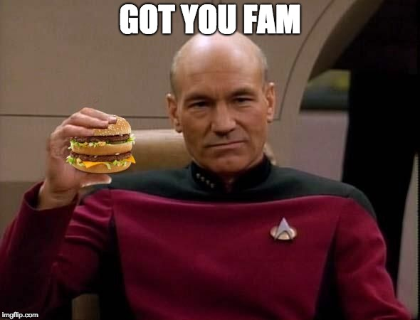 Picard with Big Mac | GOT YOU FAM | image tagged in picard with big mac | made w/ Imgflip meme maker