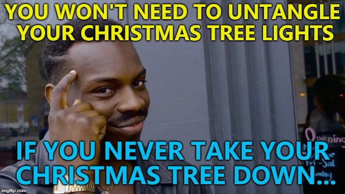 Six months until Christmas Eve... :) | YOU WON'T NEED TO UNTANGLE YOUR CHRISTMAS TREE LIGHTS IF YOU NEVER TAKE YOUR CHRISTMAS TREE DOWN... | image tagged in memes,roll safe think about it,christmas,christmas tree | made w/ Imgflip meme maker