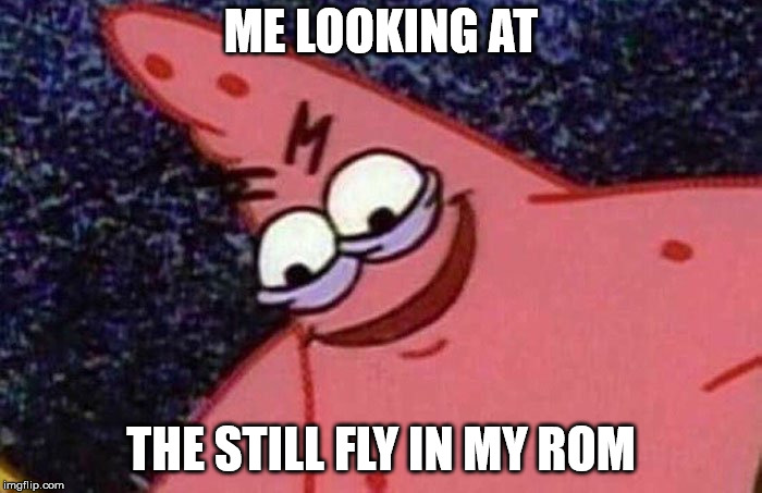 Evil Patrick  | ME LOOKING AT THE STILL FLY IN MY ROM | image tagged in evil patrick | made w/ Imgflip meme maker