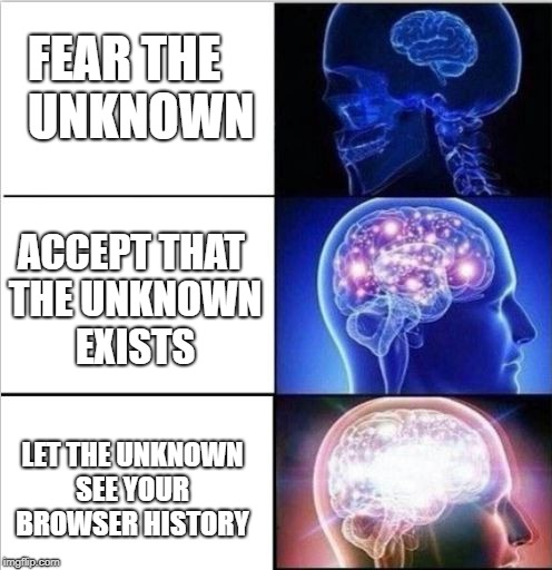 expanded woke 3 mind brain | FEAR THE UNKNOWN LET THE UNKNOWN SEE YOUR BROWSER HISTORY ACCEPT THAT THE UNKNOWN EXISTS | image tagged in expanded woke 3 mind brain | made w/ Imgflip meme maker
