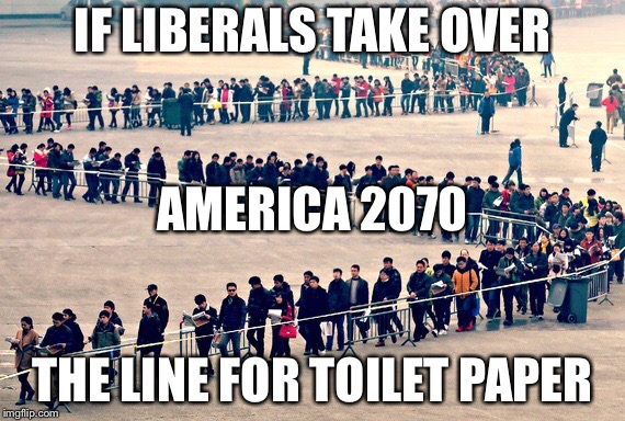 Long line | IF LIBERALS TAKE OVER THE LINE FOR TOILET PAPER AMERICA 2070 | image tagged in long line | made w/ Imgflip meme maker