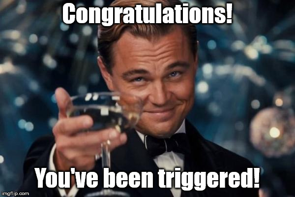 Leonardo Dicaprio Cheers Meme | Congratulations! You've been triggered! | image tagged in memes,leonardo dicaprio cheers | made w/ Imgflip meme maker