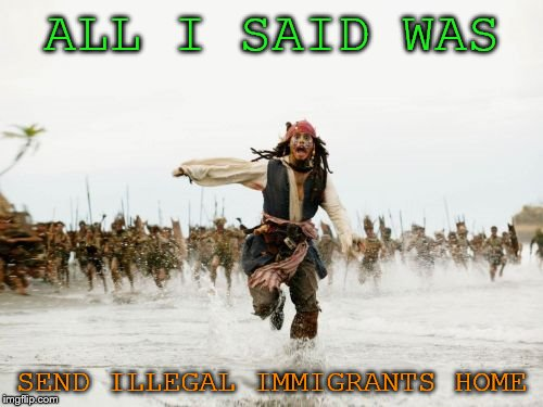 Jack Sparrow Being Chased Meme | ALL I SAID WAS SEND ILLEGAL IMMIGRANTS HOME | image tagged in memes,jack sparrow being chased | made w/ Imgflip meme maker